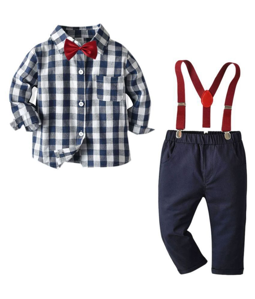 Hopscotch Boys Cotton Checked Applique Bow Full Sleeves Shirt And Suspender Pant Set in Multi Color For Ages 6-7 Years (HJ-2883360)