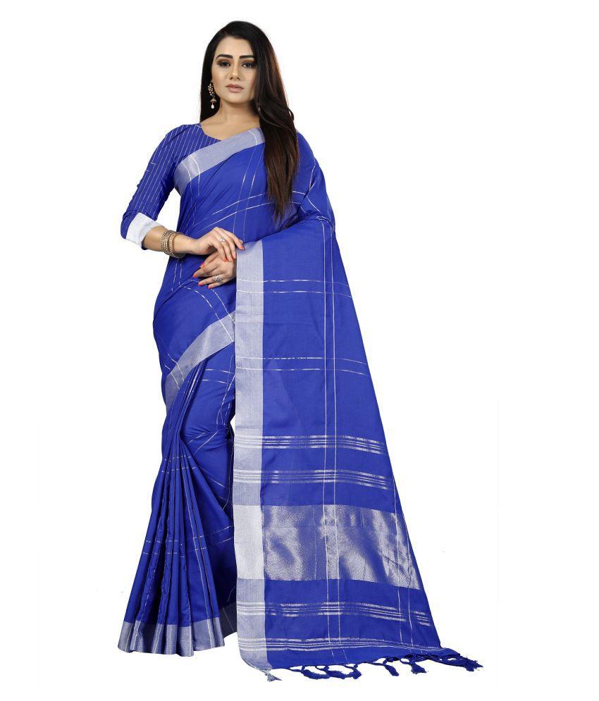Fashion Bucket Blue Cotton Silk Saree