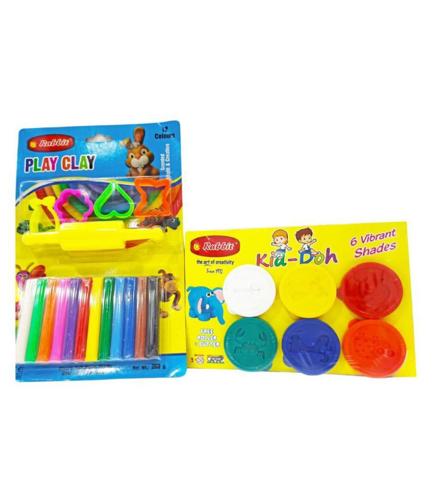 RABBIT Play Doh Set 6 colors 50g each +Play Clay big set 12 colors Play Doh Clay Set Play Clay for Kids all colors Safe, Non-Toxic & Non-Sticky Play Clay Dough for Kids with tools & moulds 3+ age group