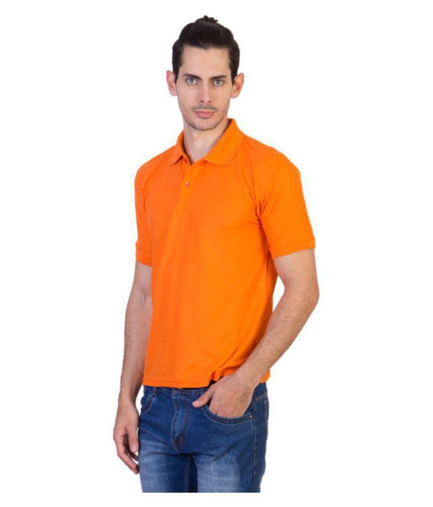 HVN Cotton Blend Orange Plain Polo T Shirt