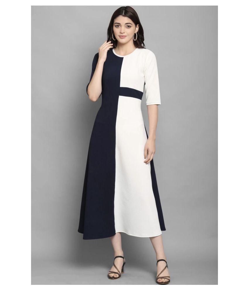 The Bebo Polyester Blue A- line Dress
