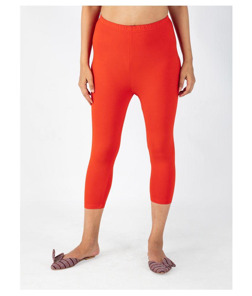 INDIAN FLOWER Orange Viscose Solid Capri
