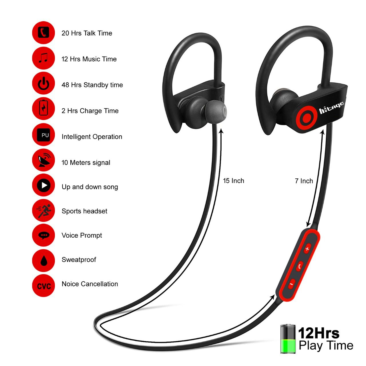 hitage QC 10s stereo headset Neckband Wired With Mic Headphones/Earphones