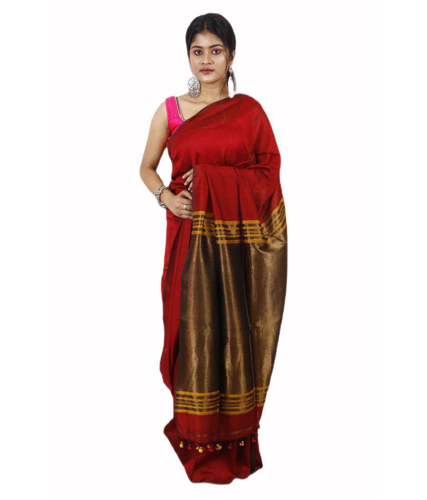 AngaShobha Red Cotton Silk Saree