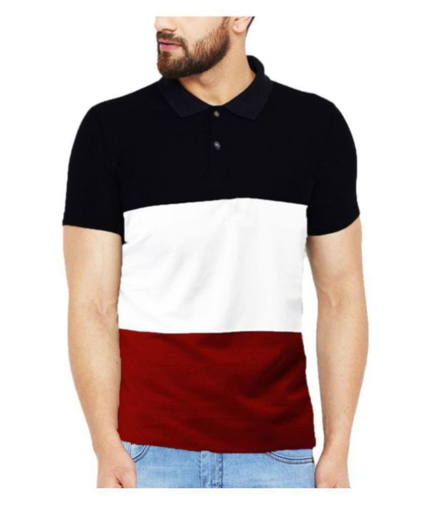 Leotude Cotton Blend Multi Color Block Polo T Shirt