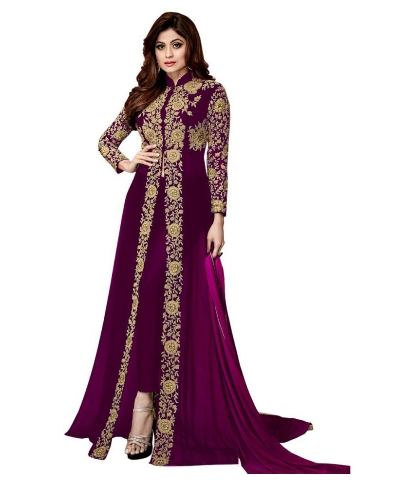 THE 9192 Purple Georgette Straight Semi-Stitched Suit