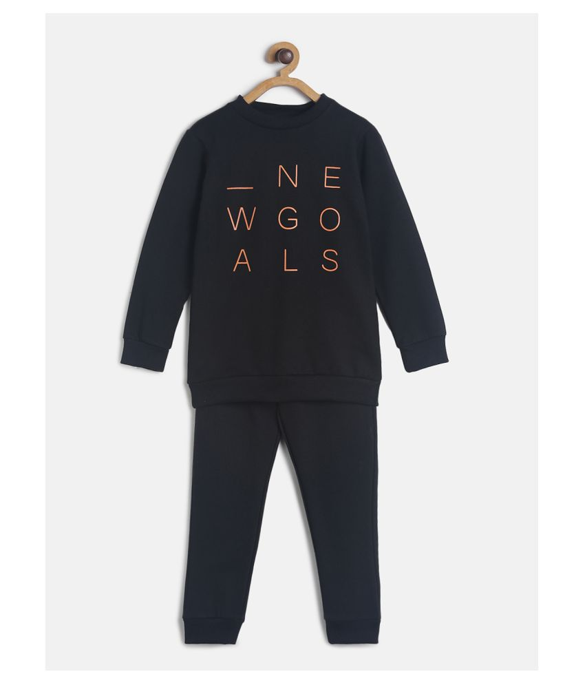 Tales and Stories Black Unisex Cotton Poly Printed  Lounge set