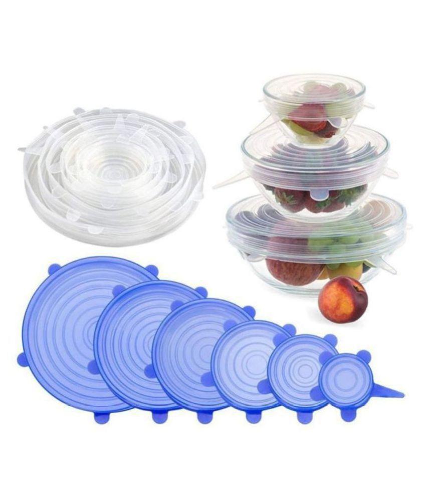 KUNJ ENTERPRISE 6 Pcs Silicon Food Wrap Lid
