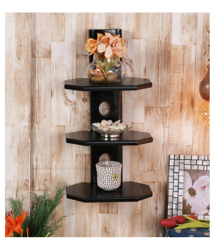 AYMH Black E-Shape Wooden 3-Shelf Designer Wall Shelf, Wall Mount Stand