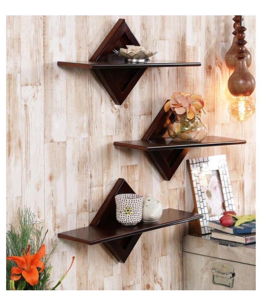 AYMH Black Engineered Wood Diamond Shape Wave Wall Shelf (Set of 3)