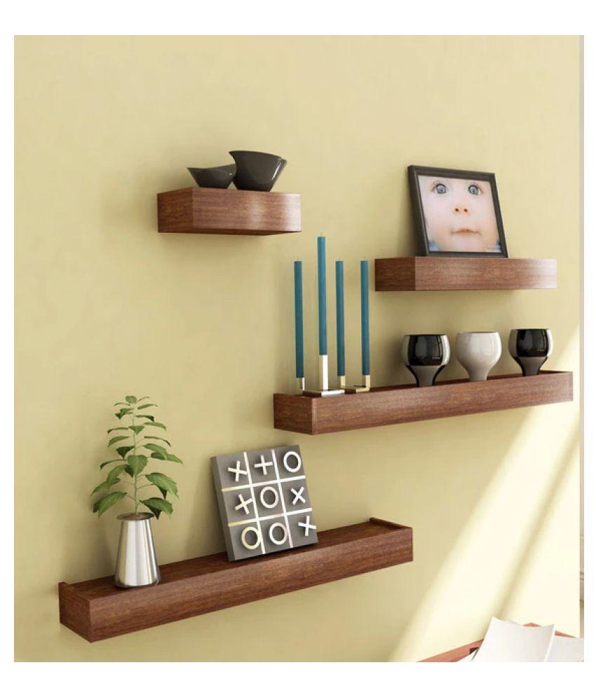 AYMH Brown Bracket Shaped Engineered Wood Wall Shelves (Set of 5)