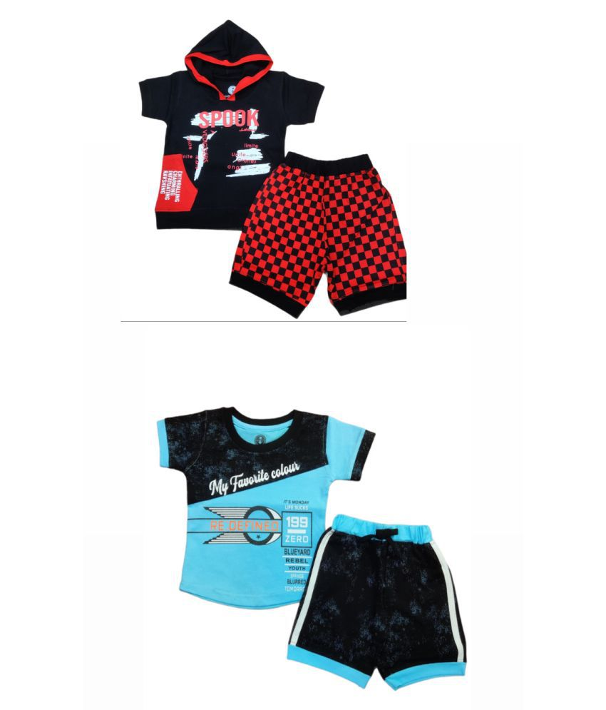 Cot-n-Tales Printed Boys T-shirt with Shorts, Pack of 2
