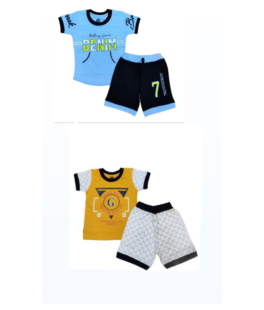 Cot-n-Tales Printed Boys T-shirt and Shorts Pack of 2