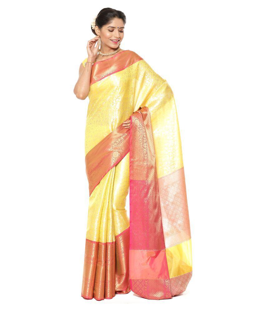 Banarasi Silk Works Beige Kanchipuram Saree