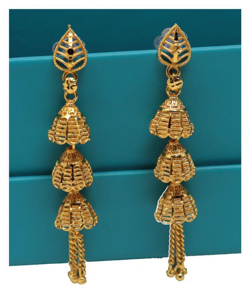 Happy Stoning Designer One Gram Plated Sleek Jhumka Earrings for Women