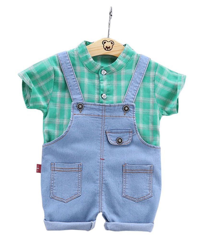 Hopscotch Boys Cotton and Polyester Checks Print Shirt And Dungaree in Green Color For Ages 4-5 Years (YUE-3081005)