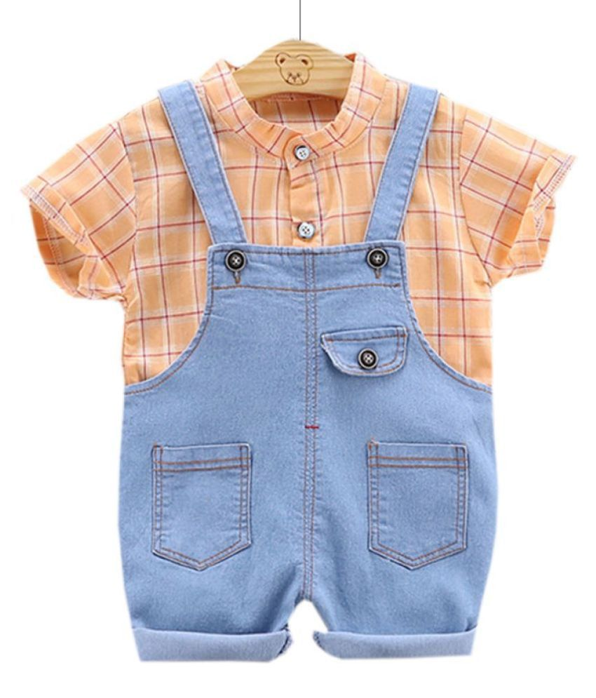Hopscotch Boys Cotton and Polyester Half Sleeve Shirt And Denim Dunagree in Orange Color For Ages 2-3 Years (YUE-3081034)