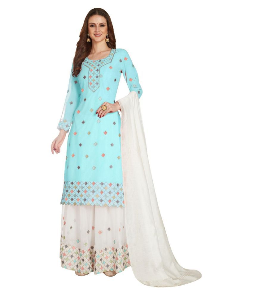 THE 9192 Blue Georgette A-line Semi-Stitched Suit