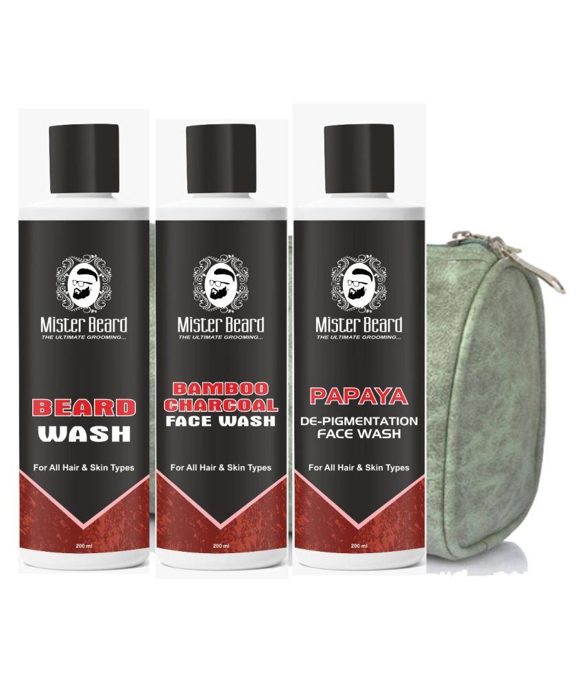 MISTER BEARD Beard wash, Papaya Facewash Free Bag And Charcoal Face Wash 200 mL Pack of 3