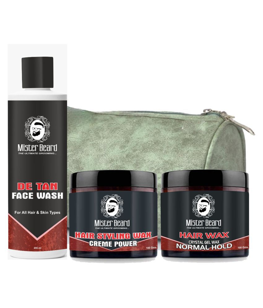MISTER BEARD Hair Wax Crème Power,Normal Hold Free Bag,De Tan Face Wash 200 mL Pack of 3