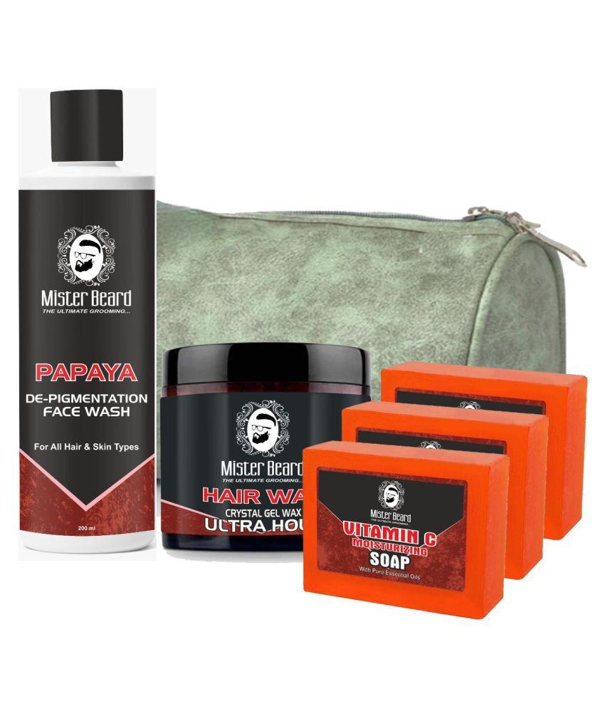 MISTER BEARD Hair Wax Ultra Hold,Vitamin C Soap Free Bag,Papaya Face Wash 200 mL Pack of 5