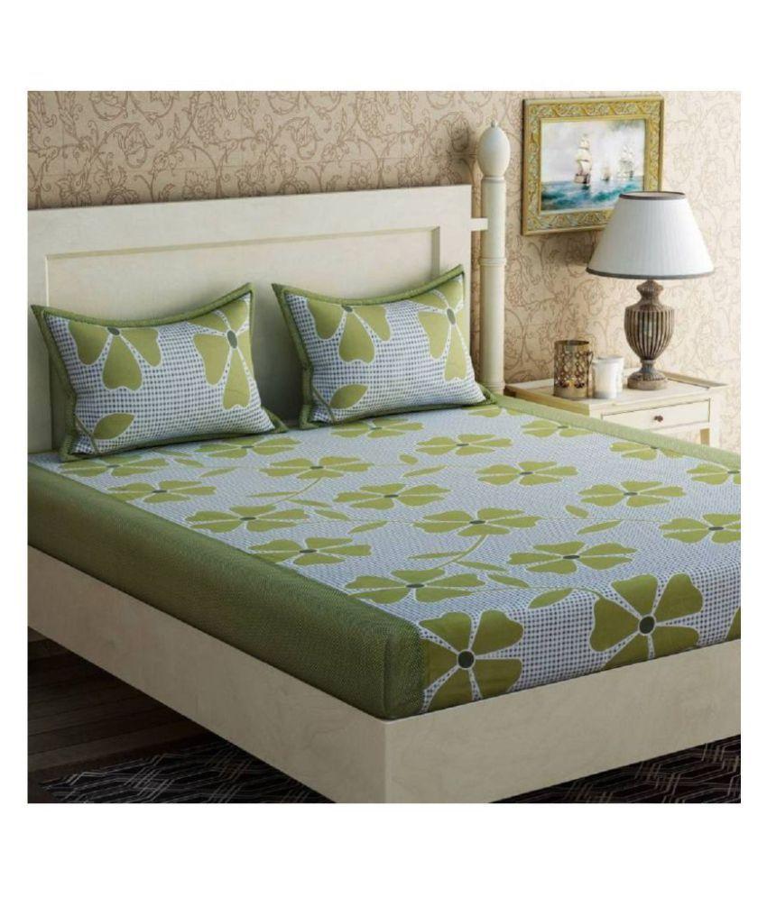 DURGA INTERNATIONAL Microfibre Double Bedsheet with 2 Pillow Covers ( 225 cm x 220 cm )