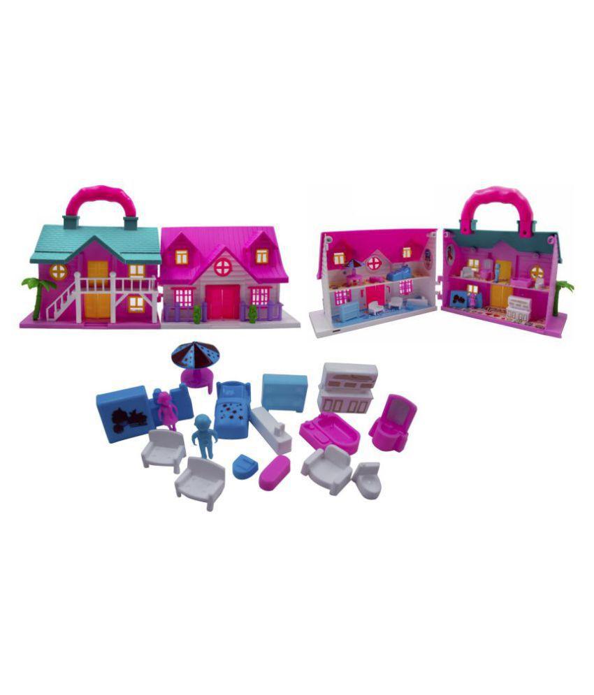 Portable Funny Girls Doll House Play Set | 19Pcs | 100% Non-Toxic BPA Free Plastic| Big Dream House Lovely Classic Shape N Design