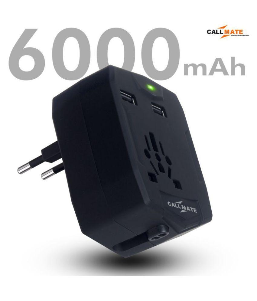Callmate World Travel Adapter 6000  mAh Li Ion Power Bank Black