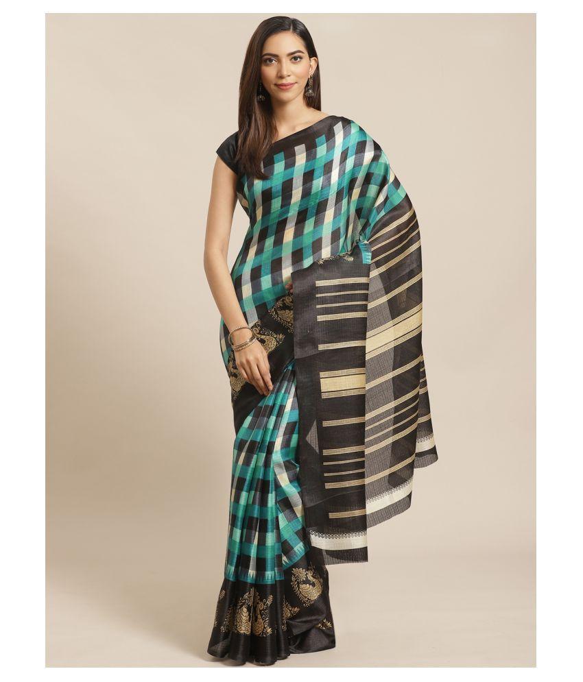 Grubstaker Black,Green Bangalore Silk Saree - Single
