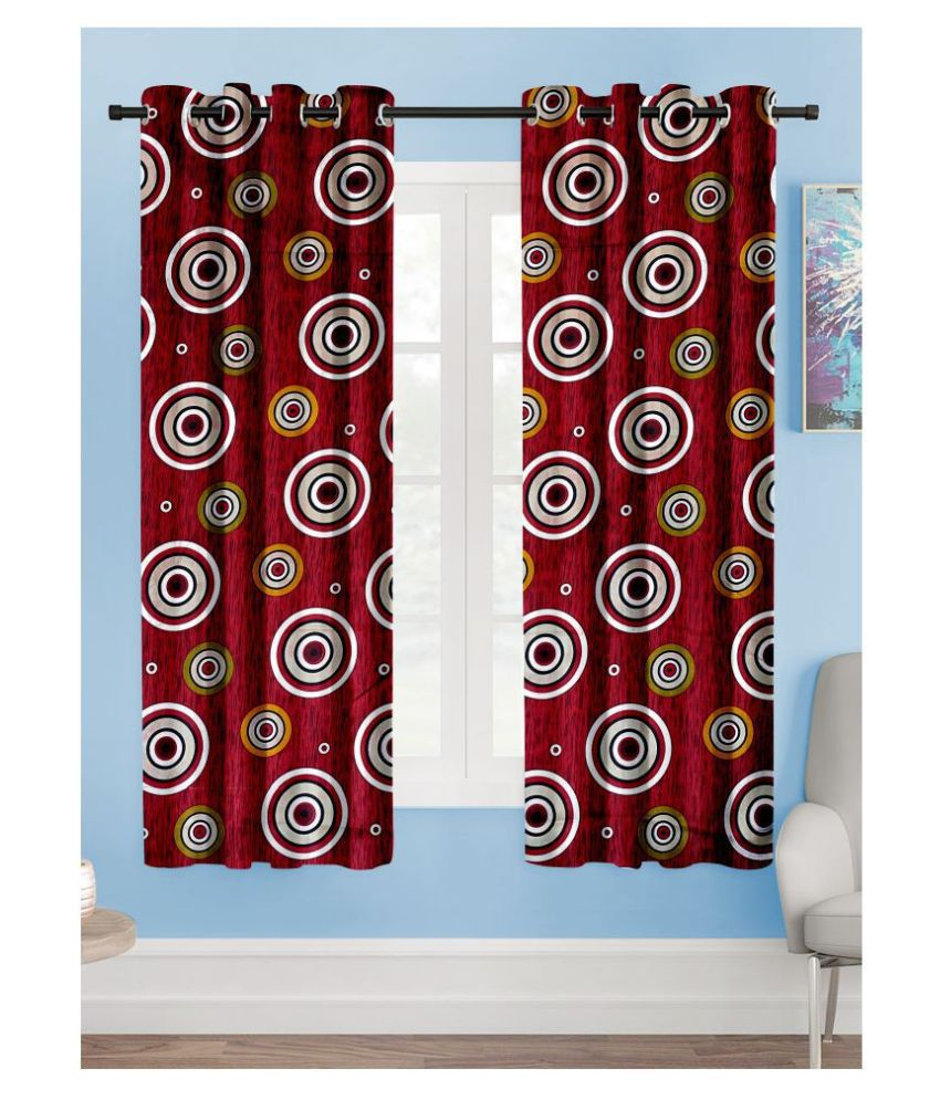 Hometique Set of 2 Window Semi-Transparent Eyelet Polyester Maroon Curtains ( 152 x 122 )