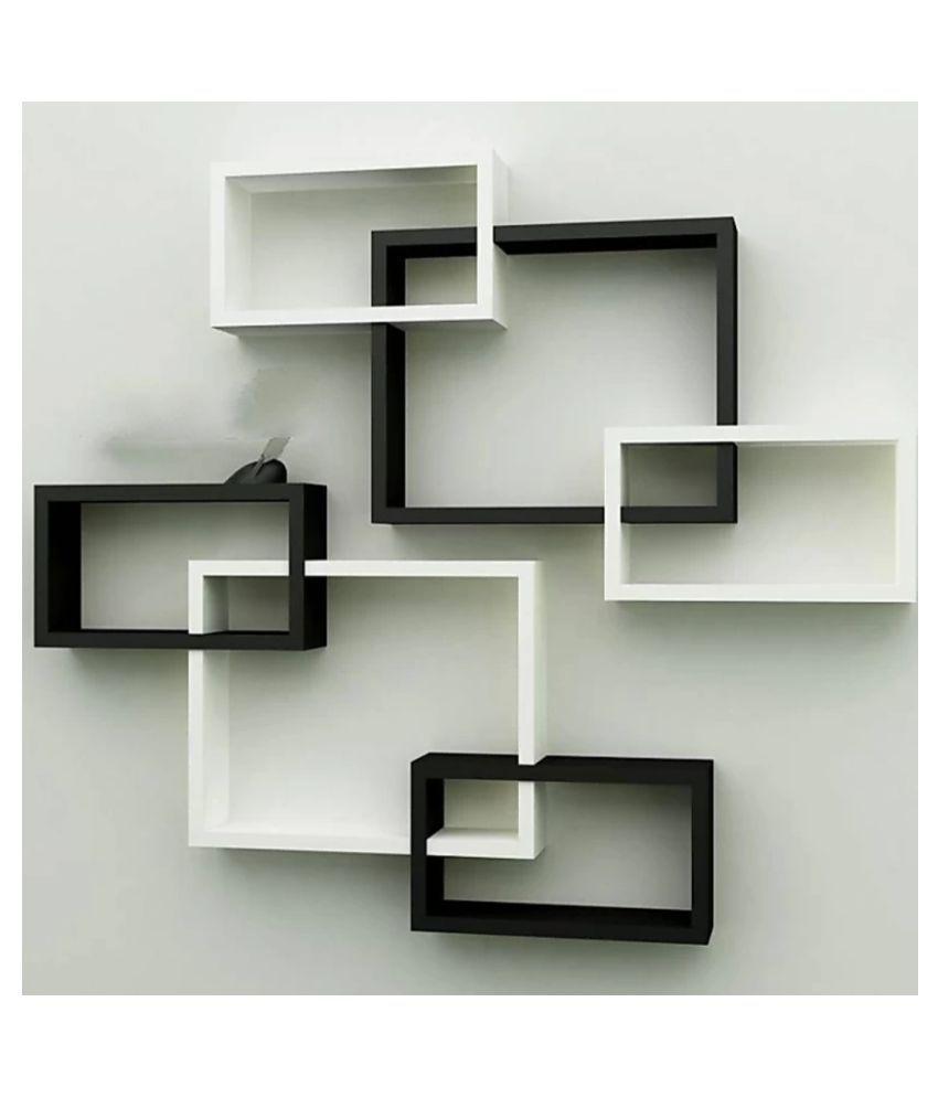 TFS Wall Mount Intersecting Wall Shelves Set of 6 Display Unit MDF (Medium Density Fiber) White Black