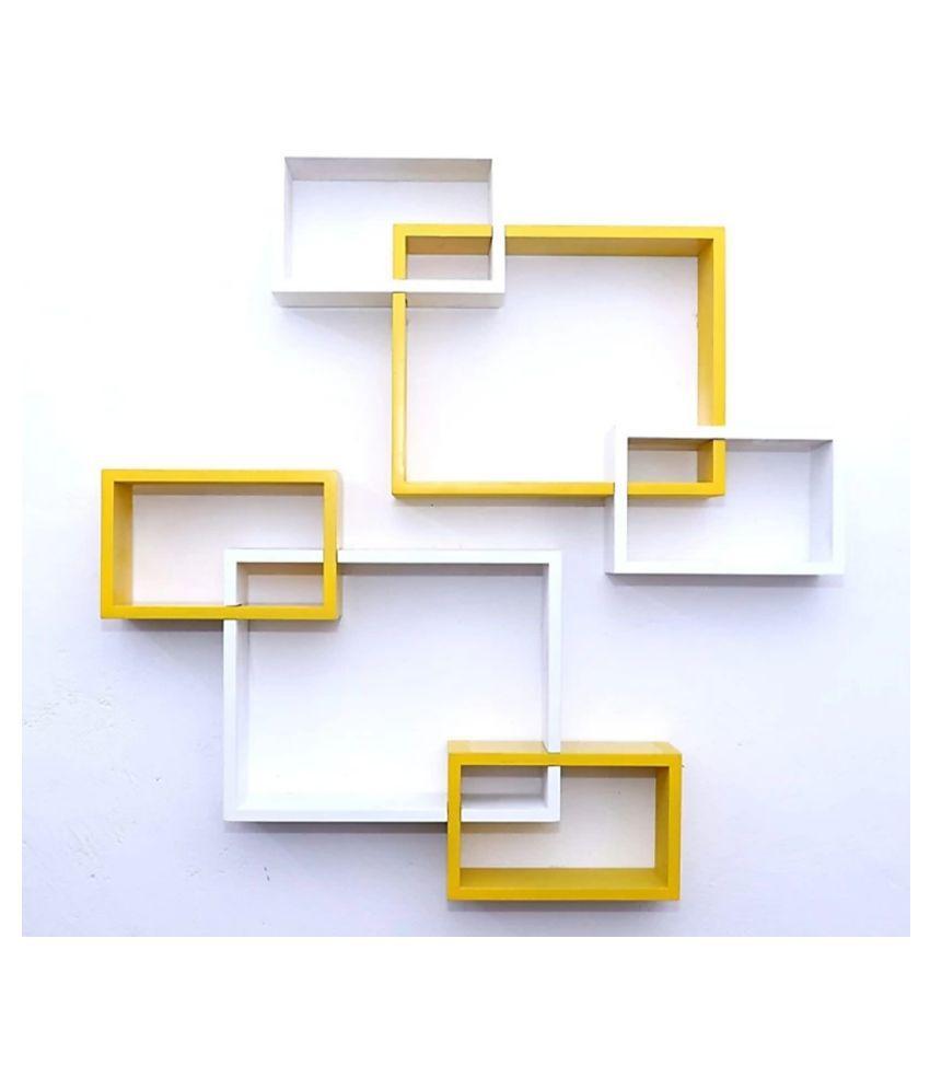 TFS Wall Mount Intersecting Wall Shelves Set of 6 Display Unit MDF (Medium Density Fiber) Yellow White
