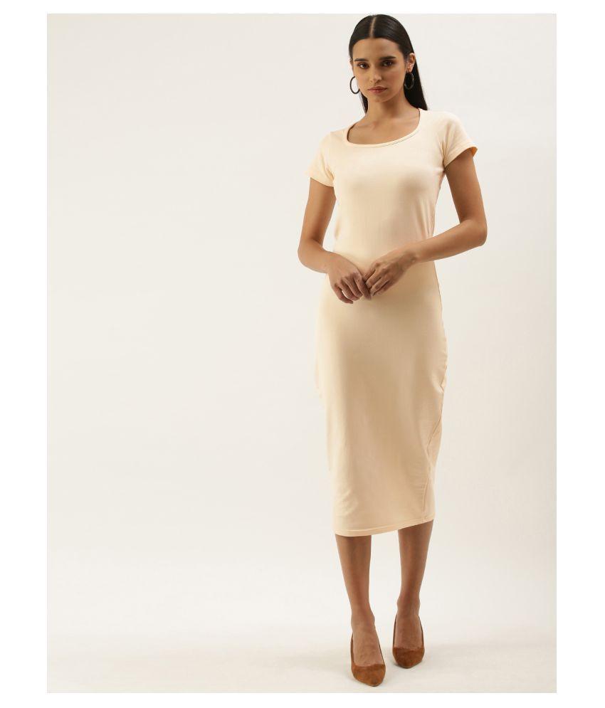 Dillinger Cotton Lycra Yellow Bodycon Dress - Single