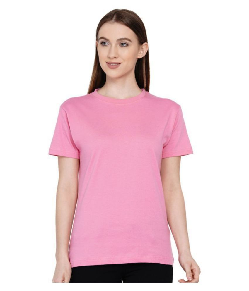 Knits and Weave Cotton Pink T-Shirts