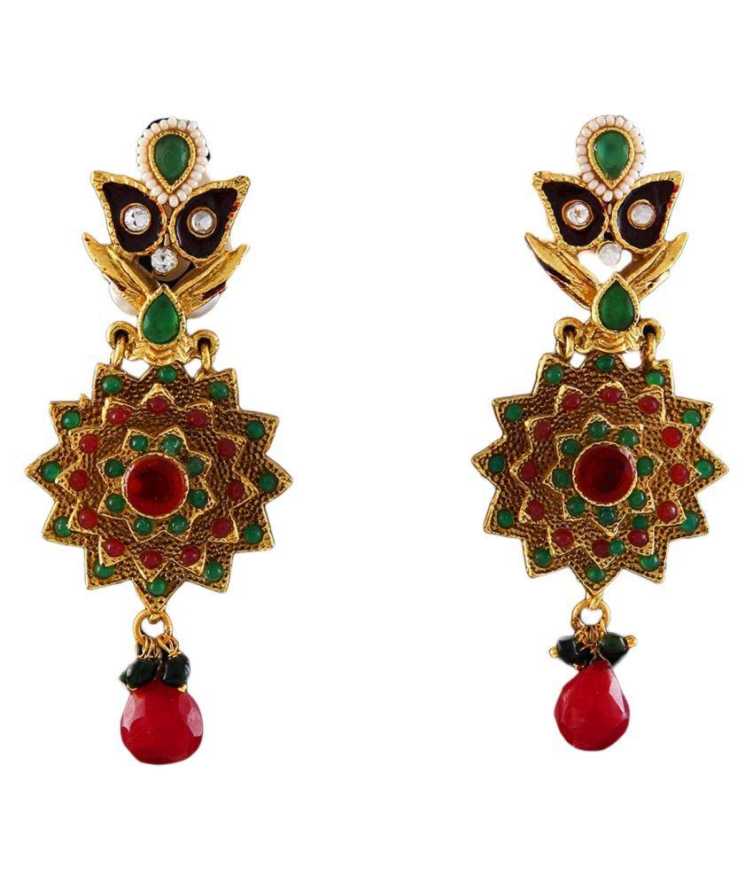 Dangler Earrings 18K Gold Plated Ruby Ruby Pretty Dangler Earrings 18K Gold Plated Ruby for Wife Sister Pretty