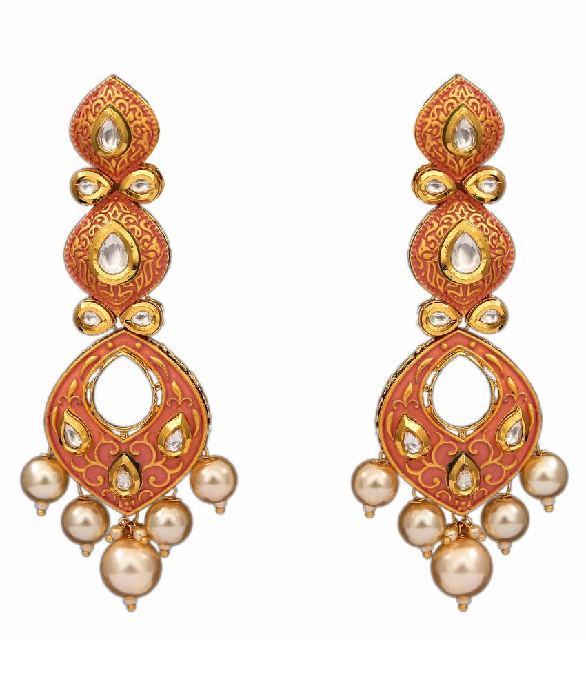 Jewelryonclick Designer Long Dangling Earrings Gold Plated Pearl Kundan Peach Enamel Indian Traditional Hanging Designer Collection Jewellery for Girls and Women