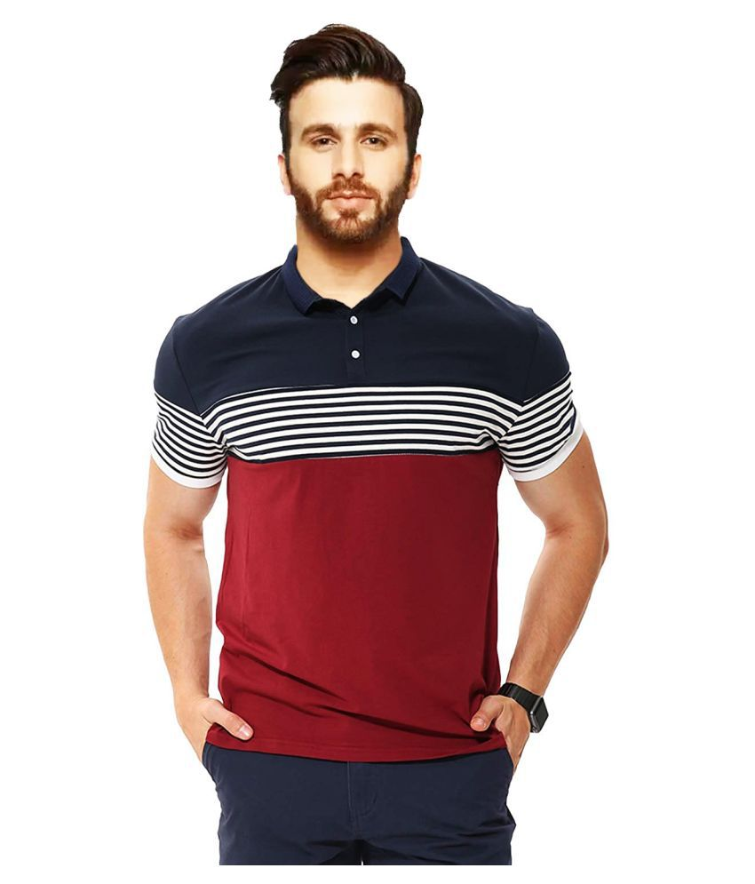 Leotude Cotton Blend Multi Stripers Polo T Shirt