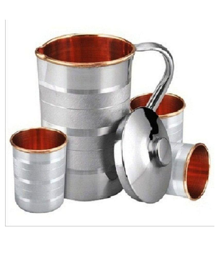 Raghav Steel Copper 1.7 ml Jug  amp; Glass Sets