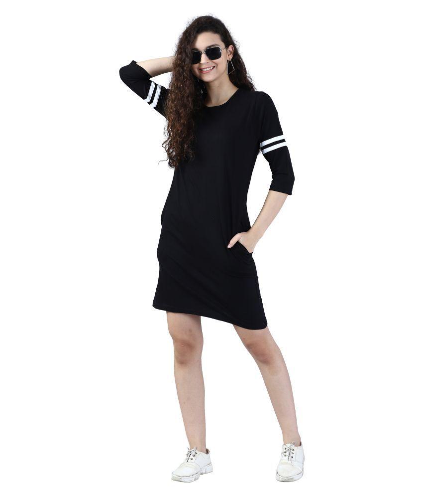 Broadstar Cotton Black Bodycon Dress - Single