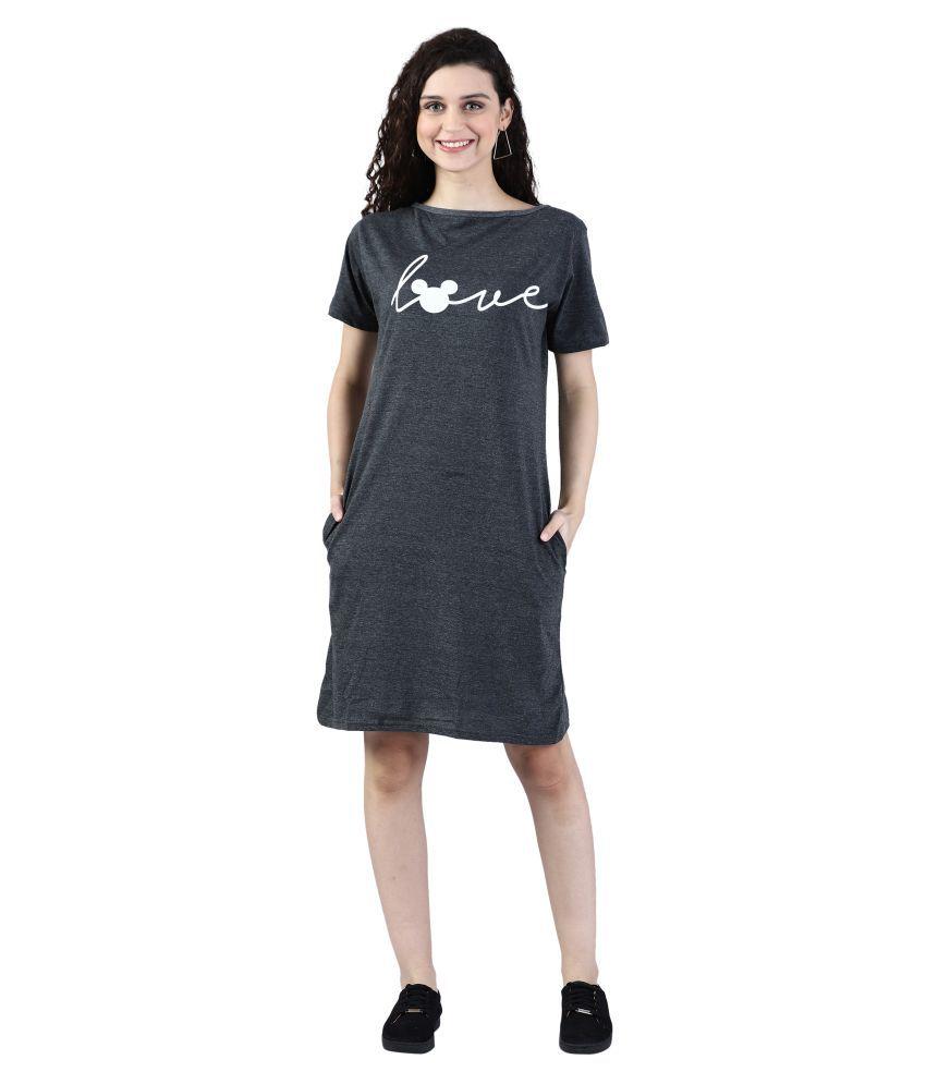 Broadstar Cotton Grey Bodycon Dress - Single