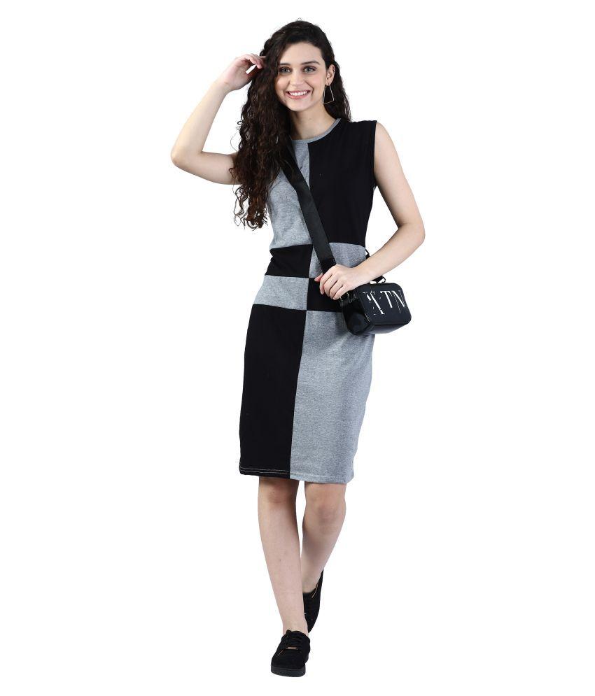 Broadstar Cotton Multi Color Bodycon Dress - Single