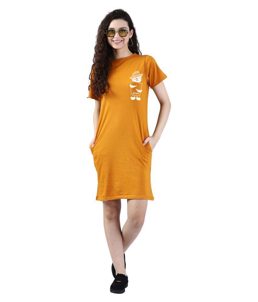 Broadstar Cotton Yellow Bodycon Dress - Single