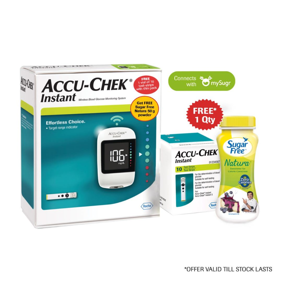 Accu-Chek Instant Glucometer Pack with Free 10 Test Strips & Sugarfree Powder (Connect with mySugr App)