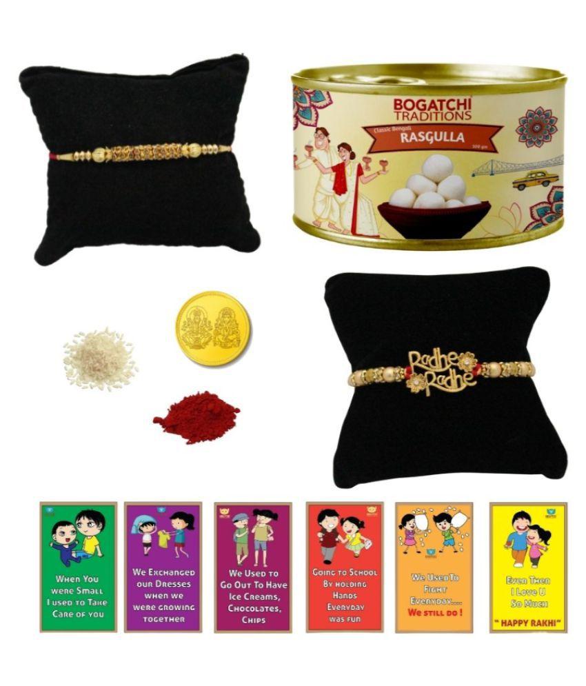 BOGATCHI Assorted Box Rakhi Gift for Brother|Rakhi with Sweets 500 gm