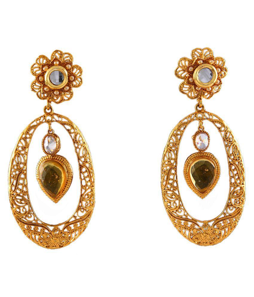 Chandbali Dangle Jhumki Earrings Gold Plated Crystal Crystal Ethnic Chandbali Dangle Jhumki Earrings Gold Plated Crystal for Women and Girls Ethnic