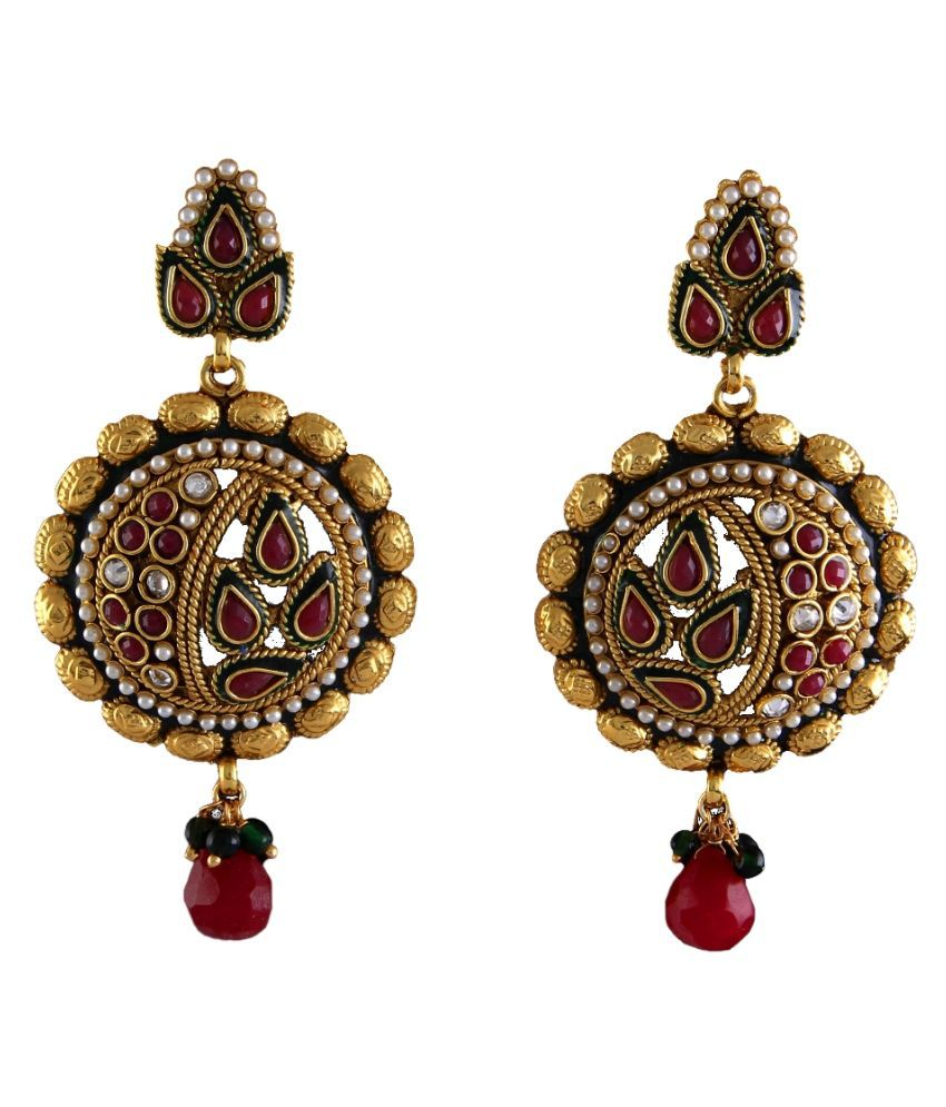 Jhumki Earrings Gold Plated Red Ruby, Pearl Red Ruby, Pearl Pretty Jhumki Earrings Gold Plated Red Ruby, Pearl for Women Girls Ladies Pretty
