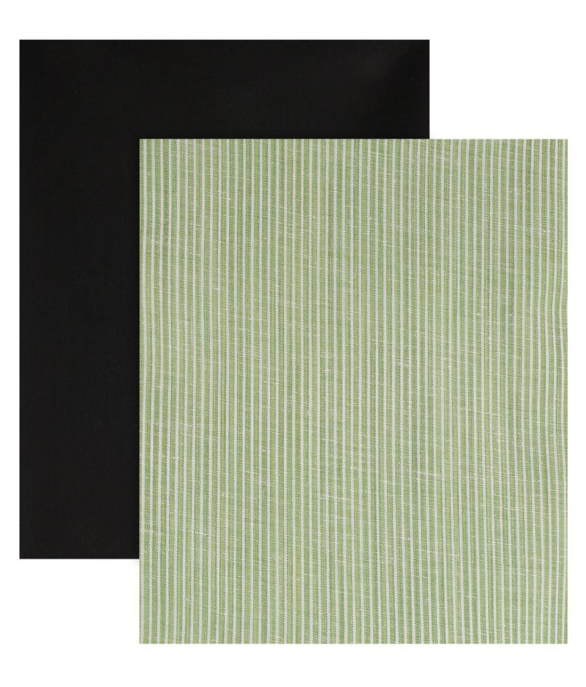 Maharaja Green Poly Viscose Unstitched Shirts & Trousers