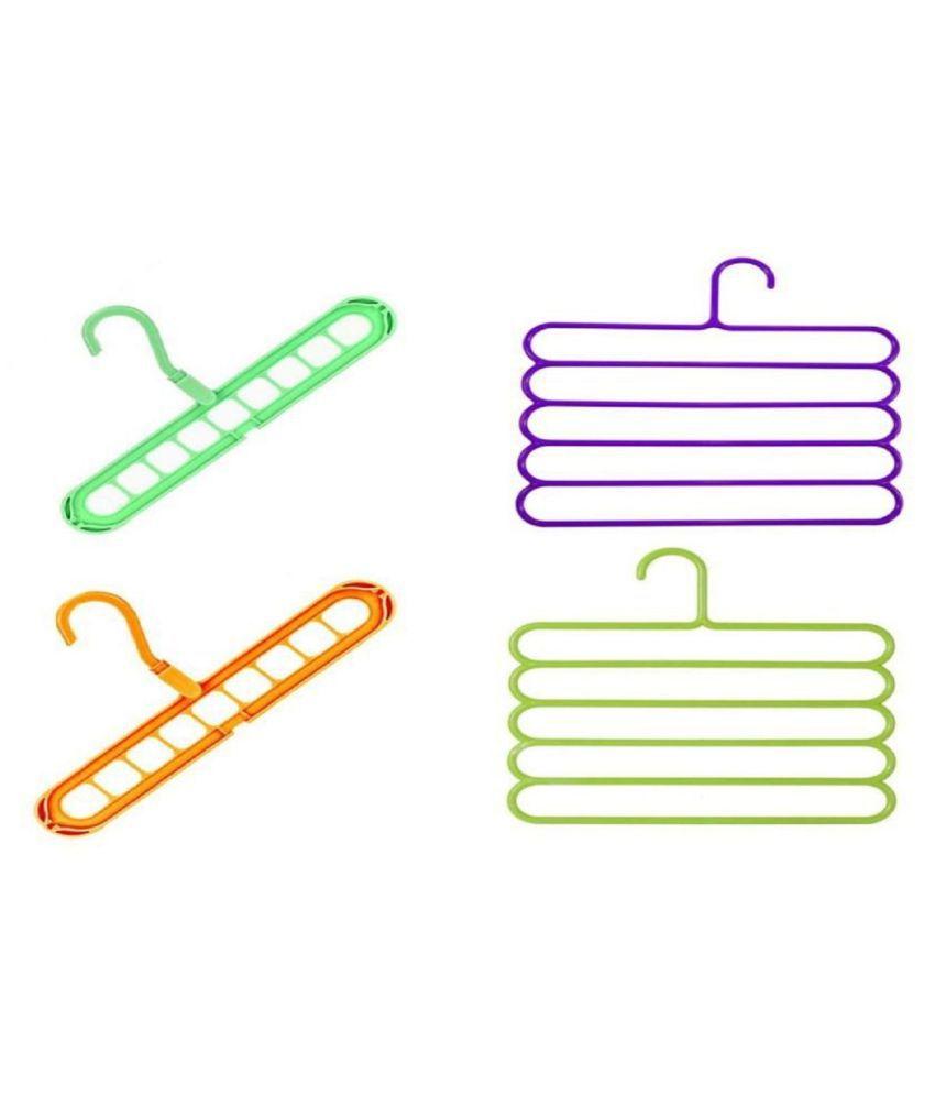 ASQURE  9 Hole Magic Hanger & Layer Hanger COmbo, Plastic Hangers Combo, (2 Magic Hanger& 2 Layer Hanger) - Pack of 4