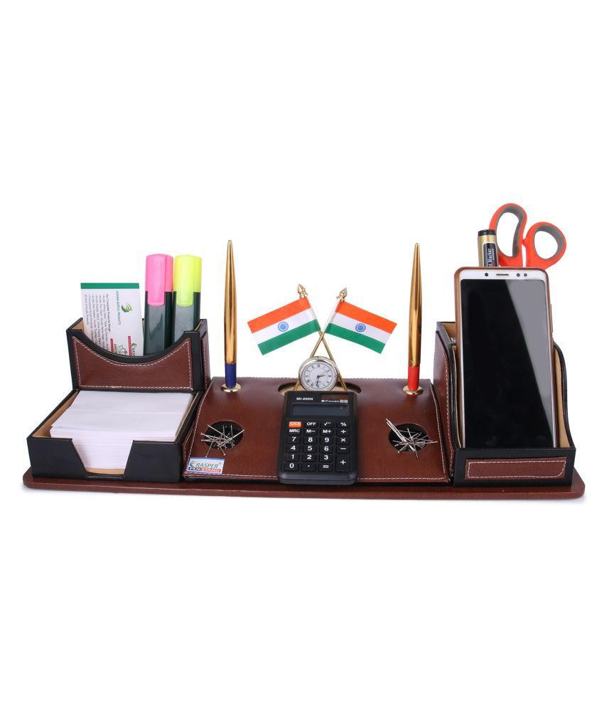Rasper Brown Leather Multipurpose Desk Organizer Pen Stand Holder with Calculator Watch Flag for Office Table Top with Mobile Holder (17.25x6 Inches)