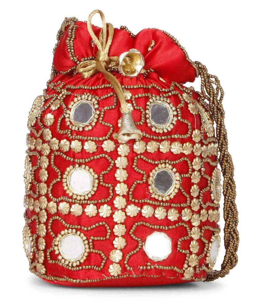SALE POTLI BAG! Red Satin Handheld